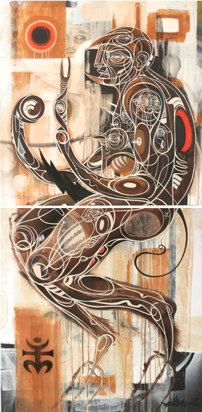 Doze  Green -  <strong>Mars</strong> (2008<strong style = 'color:#635a27'></strong>)<bR /> Mixed media on canvas, diptych,   76  x 38 inches,   (each piece 38 x 38 inches)