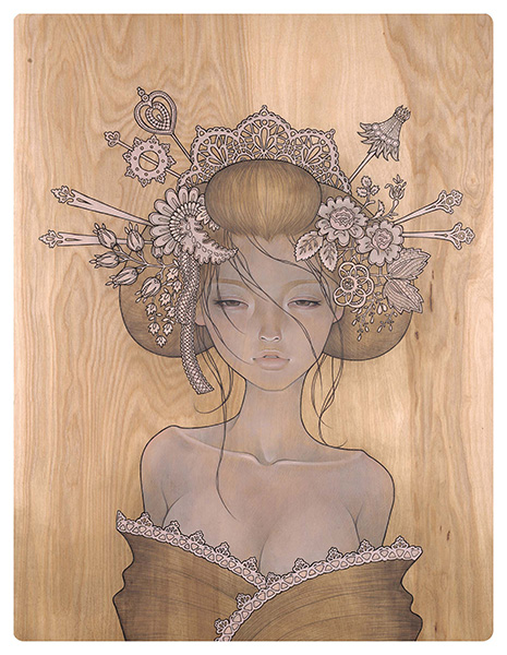 Audrey  Kawasaki -  <strong>Yuuwaku (Allure)</strong> (2009<strong style = 'color:#635a27'></strong>)<bR /> oil and graphite on wood,   26 x 20 inches  (66.04 x 50.8 cm)