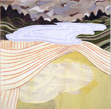 Ryan  Wallace -  <strong>The Lake Froze Early This Year</strong> (2004<strong style = 'color:#635a27'></strong>)<bR /> Mixed Media on Canvas.