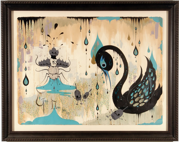 Camille Rose  Garcia -  <strong>General Disorder's Poison Party</strong> (2006<strong style = 'color:#635a27'></strong>)<bR /> Acrylic and gold mica on paper,   Image size: 45 x 60 inches,   Framed size: 58 x 72 inches