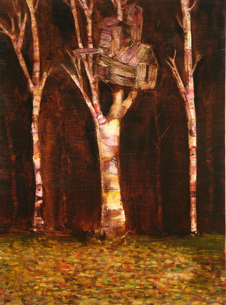 David  Choe -  <strong>Leaning Treehouse</strong> (<strong style = 'color:#635a27'></strong>)<bR /> Mixed media on Wood,   16 x 12 inches