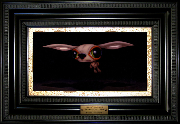Scott  Musgrove -  <strong>Lepus Volaticus</strong> (2005<strong style = 'color:#635a27'></strong>)<bR /> Oil on Board,   Image size: 5 1/2 x 11 inches,   Framed size: 17 1/2 x 12 inches