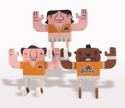 "Mike  Burnett -  <strong>Oregon State Cheerleaders Stack Set</strong> (<strong style = 'color:#635a27'></strong>)<bR /> acrylic on wood   set of three posable 11"" x 9.5"" x 5.5"" figurines"