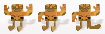 Mike  Burnett -  <strong>Lucha Libre 'Mil Mascaras'</strong> (<strong style = 'color:#635a27'></strong>)<bR /> acrylic on wood   posable figurine     (shown in three poses)