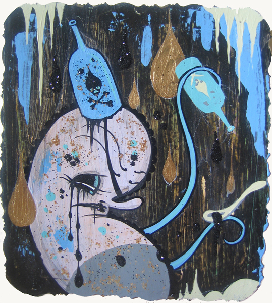 Camille Rose  Garcia -  <strong>Little General</strong> (2006<strong style = 'color:#635a27'></strong>)<bR /> Acrylic and gold mica on paper,   7 x 5 1/2 inches