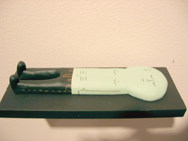 "Jim  Houser -  <strong>Sleeper</strong> (2005<strong style = 'color:#635a27'></strong>)<bR /> Mixed Media Figure: 7"" x 2.5"" x .5"" -Contact Gallery for Availability-"