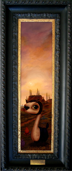 Scott  Musgrove -  <strong>Llamus Pulchellus</strong> (2005<strong style = 'color:#635a27'></strong>)<bR /> Oil on Board,   Image size: 23 x 5 1/2 inches,   Framed size: 32 x 14 inches