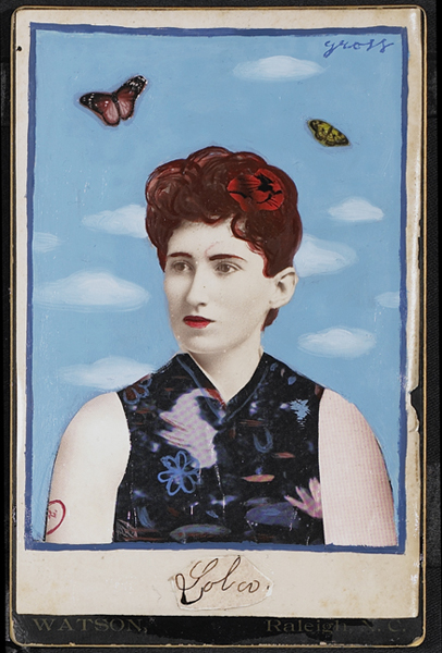 Alex  Gross -  <strong>Lola</strong> (<strong style = 'color:#635a27'></strong>)<bR /> Collage, Acrylic and Oil on Antique Cabinet Cards,   Image Size: 6 x 4 inches,   Framed Size: 10 x 8 inches