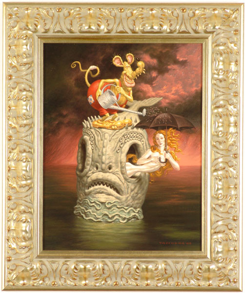 "Todd  Schorr -  <strong>Lost at Sea</strong> (2005<strong style = 'color:#635a27'></strong>)<bR /> Acrylic on Canvas  Image size: 18"" x 14""  Framed size: 24.5"" x 20.5""  -Contact Gallery for availability-"