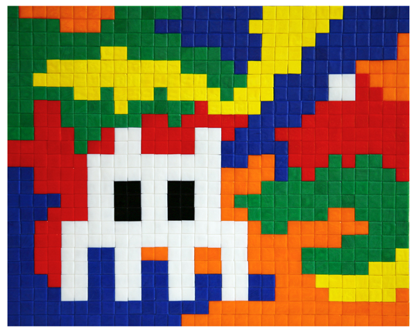 Invader  &nbsp -  <strong>Lost in Rubik Camo Space 2</strong> (2007<strong style = 'color:#635a27'></strong>)<bR /> Mosaic Tiles on Wood Panel,   19 x 24 inches