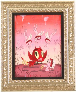 Gary  Baseman -  <strong>Love Songs</strong> (2005<strong style = 'color:#635a27'></strong>)<bR /> Acrylic on Canvas,   12 x 17 inches