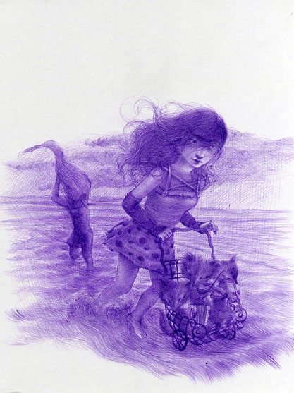 Xiaoqing  Ding -  <strong>Lover #10</strong> (2007<strong style = 'color:#635a27'></strong>)<bR /> Ballpoint Pen on Paper,   Image size: 9 x 11 inches,   Framed size: 17 x 21 inches