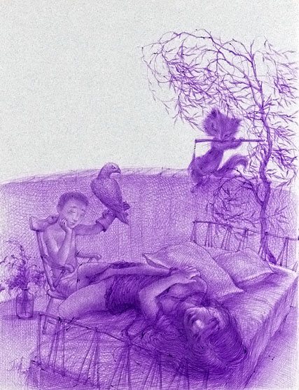 Xiaoqing  Ding -  <strong>Lover #7</strong> (2007<strong style = 'color:#635a27'></strong>)<bR /> Ballpoint Pen on Paper,   Image size: 9 x 11 inches,   Framed size: 17 x 21 inches