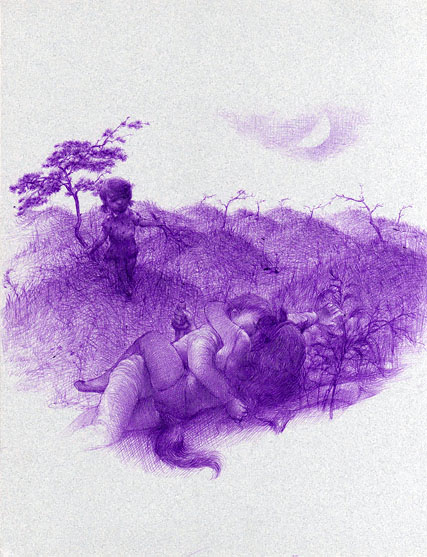 Xiaoqing  Ding -  <strong>Lover #8</strong> (2007<strong style = 'color:#635a27'></strong>)<bR /> Ballpoint Pen on Paper,   Image size: 9 x 11 inches,   Framed size: 17 x 21 inches