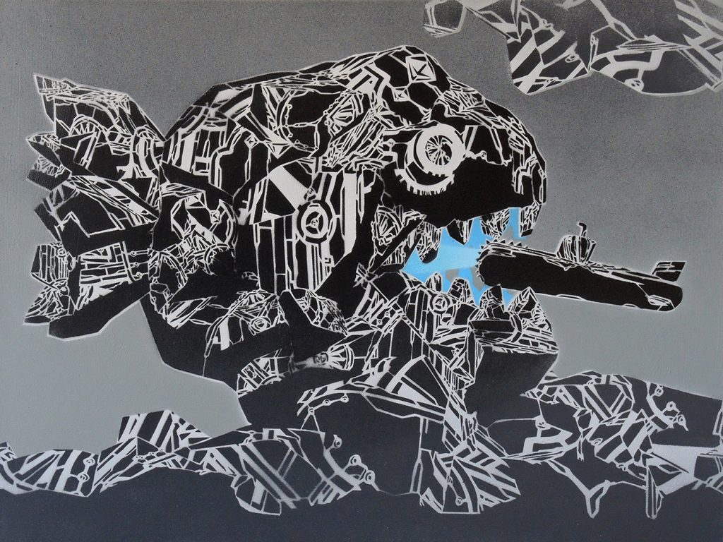 Mcity  &nbsp -  <strong>824</strong> (<strong style = 'color:#635a27'></strong>)<bR /> spray paint on canvas,   23.62 x 31.5 inches  (60 x 80 cm)