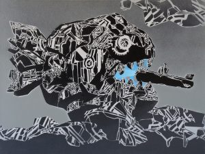 Mcity    -  <strong>824</strong> (<strong style = 'color:#635a27'></strong>)<bR /> spray paint on canvas,   23.62 x 31.5 inches  (60 x 80 cm)