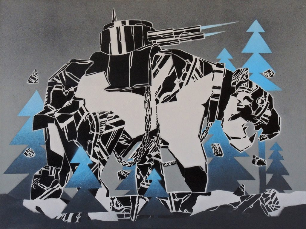 Mcity  &nbsp -  <strong>825</strong> (<strong style = 'color:#635a27'></strong>)<bR /> spray paint on canvas,   23.62 x 31.5 inches  (60 x 80 cm)