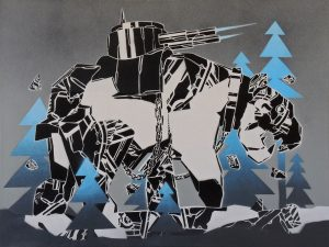 Mcity    -  <strong>825</strong> (<strong style = 'color:#635a27'></strong>)<bR /> spray paint on canvas,   23.62 x 31.5 inches  (60 x 80 cm)