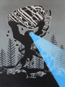 Mcity   -  <strong>826</strong> (<strong style = 'color:#635a27'></strong>)<bR /> spray paint on canvas,   31.5 x 23.62 inches  (80 x 60 cm)