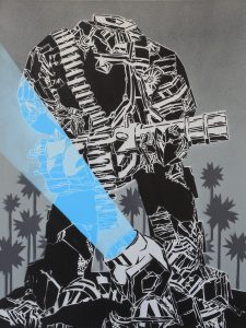 Mcity   -  <strong>827</strong> (<strong style = 'color:#635a27'></strong>)<bR /> spray paint on canvas,   31.5 x 23.62 inches  (80 x 60 cm)