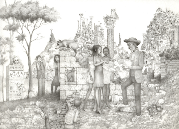 Randall  Sellers -  <strong>Mapreaders</strong> (2006<strong style = 'color:#635a27'></strong>)<bR /> Graphite on Paper,   Image size: 7 1/4 x 10 inches,   Paper size: 7 1/4 x 10 inches,   Framed size: 8 3/4 x 12 3/4 inches