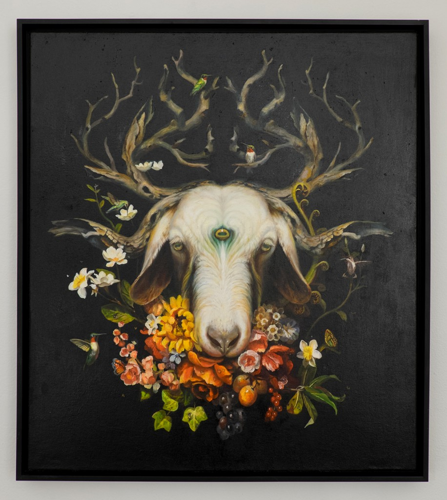 Martin  Wittfooth -  <strong>Shaman II</strong> (2014<strong style = 'color:#635a27'></strong>)<bR /> oil on canvas,   35 x 31 inches  (88.9 x 78.74 cm)
