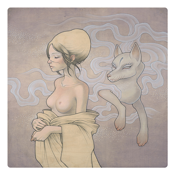 Audrey  Kawasaki -  <strong>Meisai (Disguised)</strong> (2009<strong style = 'color:#635a27'></strong>)<bR /> oil and graphite on wood,   30 x 30 inches  (76.2 x 76.2 cm)