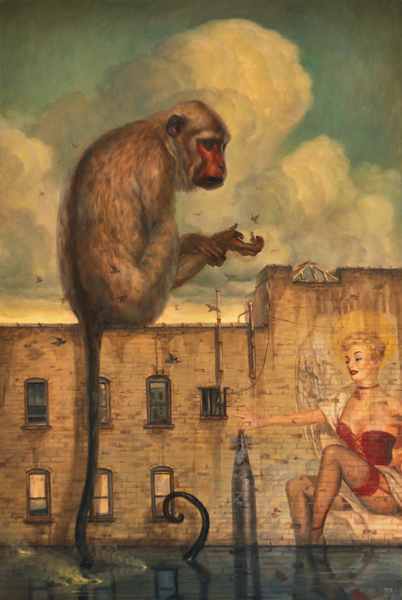 Martin  Wittfooth -  <strong>Messengers</strong> (2009<strong style = 'color:#635a27'></strong>)<bR /> oil on panel,   Image size: 36 x 24 inches [91.4 x 61 cm],   Framed size: 45 x 32 1/2 inches [114.3 x 82.6 cm]