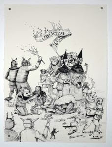Saner   -  <strong>Mexican Moment</strong> (2014<strong style = 'color:#635a27'></strong>)<bR /> ink on paper,   30.25 x 22.25 inches  (76.84 x 56.52 cm)