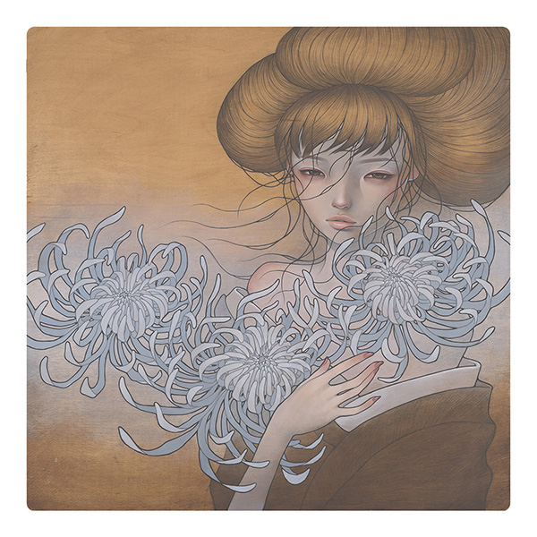Audrey  Kawasaki -  <strong>Mezameru Maeni (Before You Awake)</strong> (2009<strong style = 'color:#635a27'></strong>)<bR /> oil and graphite on wood,   30 x 30 inches  (76.2 x 76.2 cm)