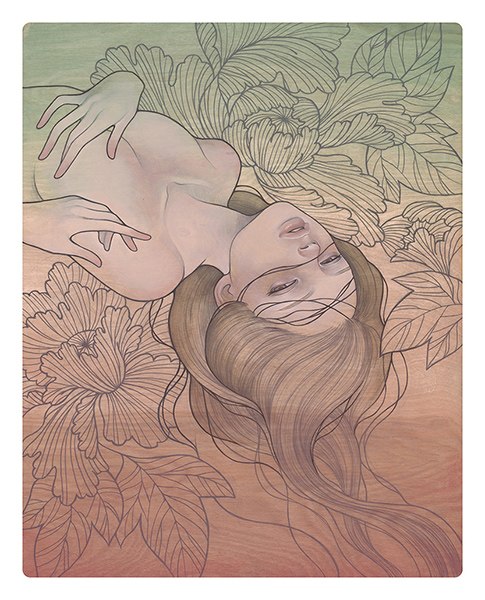 Audrey  Kawasaki -  <strong>Migawari (To Give Oneself)</strong> (2009<strong style = 'color:#635a27'></strong>)<bR /> oil and graphite on wood,   20 x 16 inches  (50.8 x 40.64 cm)
