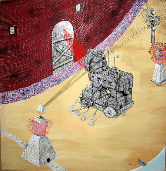 Andrew  Schoultz -  <strong>Meditation with Trojan Horse</strong> (2006<strong style = 'color:#635a27'></strong>)<bR /> Acrylic on Wood,   48 x 36 1/2 inches