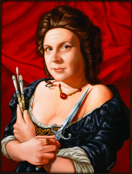 Isabel  Samaras -  <strong>Artemisia, Artis Magistra (Mistress of Art)</strong> (2006<strong style = 'color:#635a27'></strong>)<bR /> Oil on wood,   Image size: 15 1/2 x 12 inches,   Framed size: 26 x 22 inches