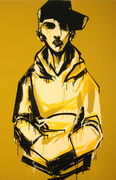 Hamilton  Yokota (Titi Freak) -  <strong>Movimento 2</strong> (2008<strong style = 'color:#635a27'></strong>)<bR /> Spray Paint on Canvas,   54 x 35 inches, stretched