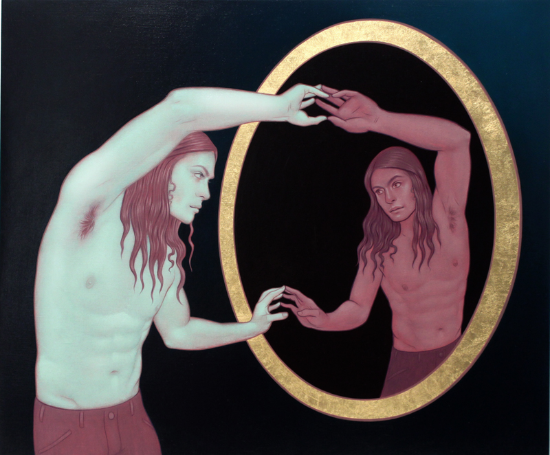 Tara  McPherson -  <strong>Trapped in the Narcissus Gaze (Part One)</strong> (2010<strong style = 'color:#635a27'></strong>)<bR /> oil and 23K gold leaf on linen, stretched over panel,   20 x 24 inches  (50.8 x 60.96 cm)
