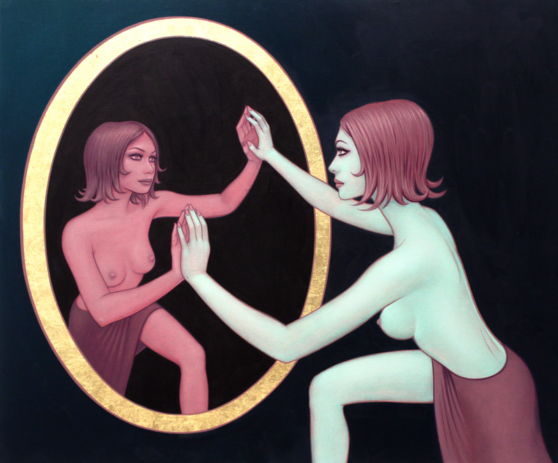 Tara  McPherson -  <strong>Trapped in the Narcissus Gaze (Part Two)</strong> (2010<strong style = 'color:#635a27'></strong>)<bR /> oil and 23K gold leaf on linen, stretched over panel,   20 x 24 inches  (50.8 x 60.96 cm)