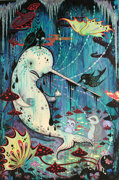 Camille Rose  Garcia -  <strong>Narwhal in a Fairy Ring</strong> (2009<strong style = 'color:#635a27'></strong>)<bR /> acrylic and glitter on wood panel,   36 x 24 inches