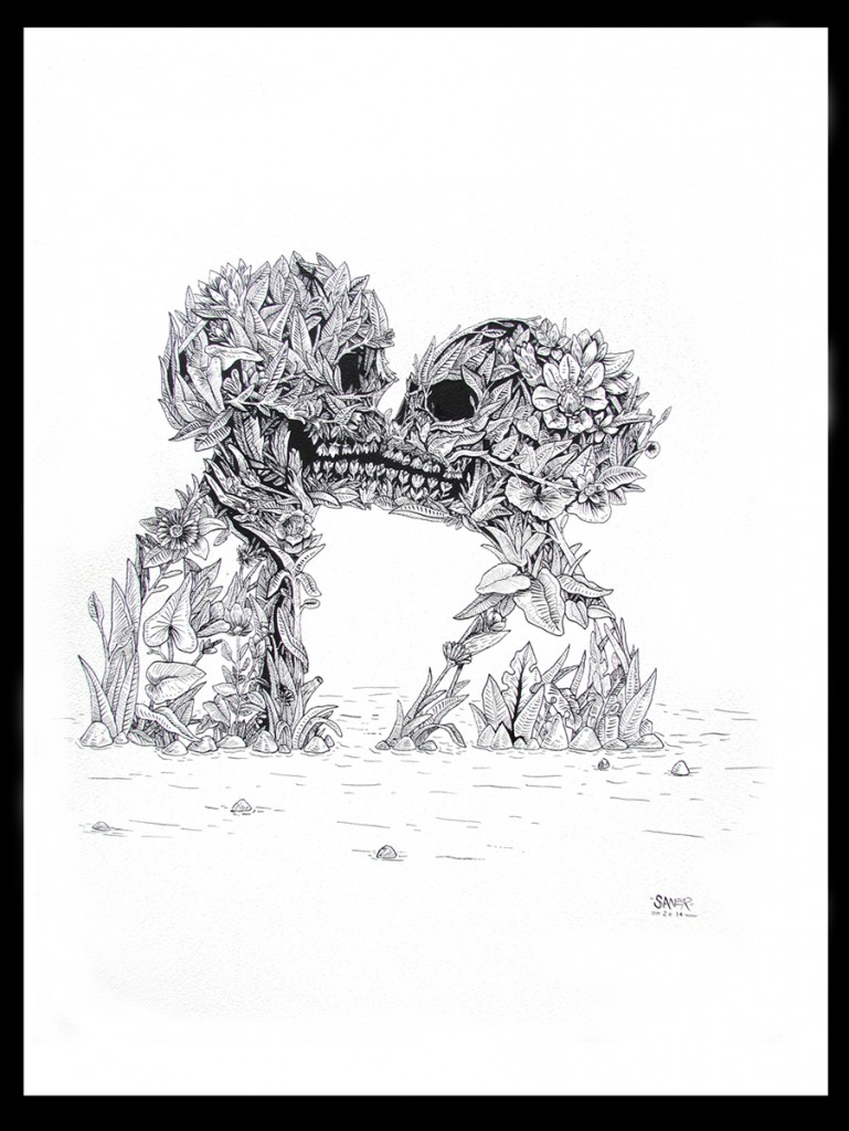 Saner     -  <strong>Natural Love</strong> (2014<strong style = 'color:#635a27'></strong>)<bR /> ink on paper,   22 x 36 inches  (55.88 x 91.44 cm)