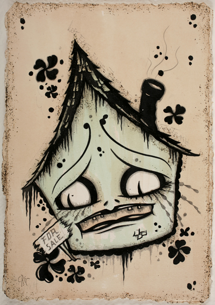Camille Rose  Garcia -  <strong>Nervous House</strong> (2009<strong style = 'color:#635a27'></strong>)<bR /> acrylic, graphite and mica on paper,   paper size: 11 x 7 1/2 inches,   framed size: 16 1/4 x 12 1/2 inches