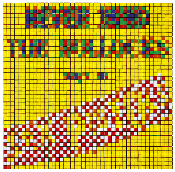 Invader  &nbsp -  <strong>Rubik Never Mind (the Bullocks)</strong> (2009<strong style = 'color:#635a27'></strong>)<bR /> 225 Rubik's cubes on Perspex panel,   33 x 33 x 2 3/8 inches [83.8 x 83.8 x 6 cm]