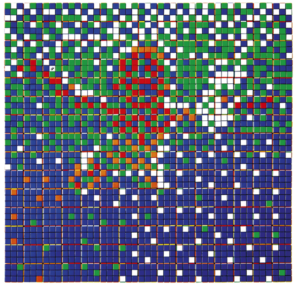 Invader  &nbsp -  <strong>Rubik Nevermind</strong> (2009<strong style = 'color:#635a27'></strong>)<bR /> 225 Rubik's cubes on Perspex panel,   33 x 33 x 2 3/8 inches [83.8 x 83.8 x 6 cm]