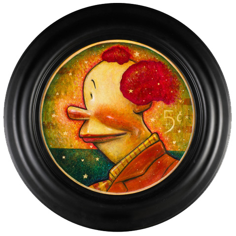 """Daniel  Peacock -  <strong>Nickle</strong> (<strong style = 'color:#635a27'></strong>)<bR /> Acrylic on Canvas Image size: 12"""" round Framed size: 17"""" round -Contact Gallery for Availability-"""