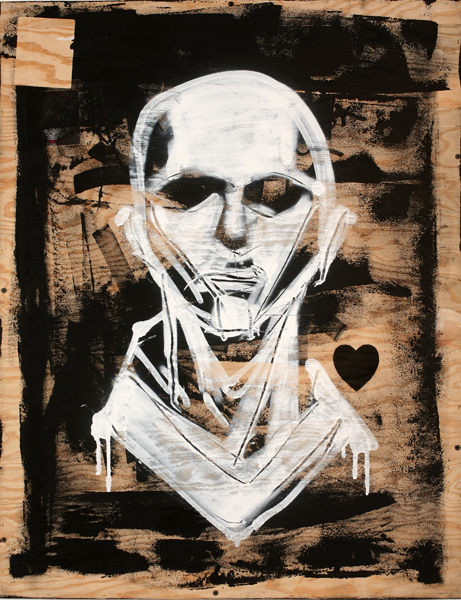 Hamilton  Yokota (Titi Freak) -  <strong>Fantasma</strong> (2008<strong style = 'color:#635a27'></strong>)<bR /> Spray Paint on Wood,   36 1/2 x 28 1/2 inches