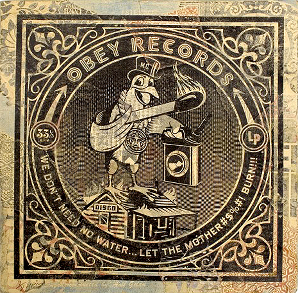"Shepard  Fairey -  <strong>Fire Bird</strong> (2008<strong style = 'color:#635a27'></strong>)<bR /> <font size=""2"">Hand Painted Multiple</font>,   <font size=""2"">Silkscreen Collage on Album Cover</font>,   <font size=""2"">Edition 6/8</font>,   <font size=""2"">12 x 12 inches</font>"