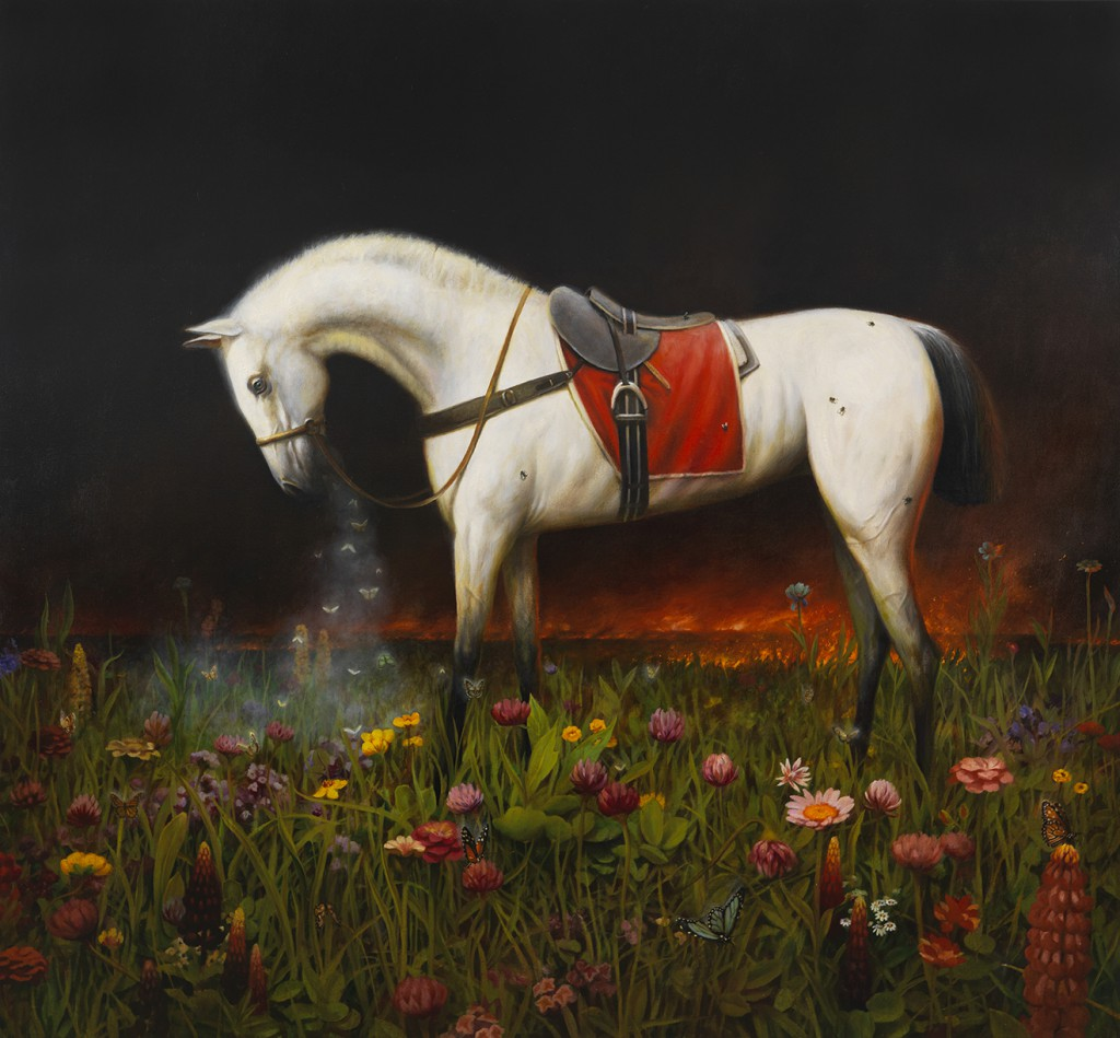 Martin Wittfooth -  <strong>Nocturne V</strong> (2015<strong style = 'color:#635a27'></strong>)<bR />  oil on canvas,   78 x 84 inches  (198.12 x 213.36 cm)