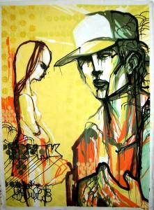 Hamilton  Yokota (Titi Freak) -  <strong>Freak</strong> (2006<strong style = 'color:#635a27'></strong>)<bR /> Mixed Media on Canvas,   83 x 60 inches