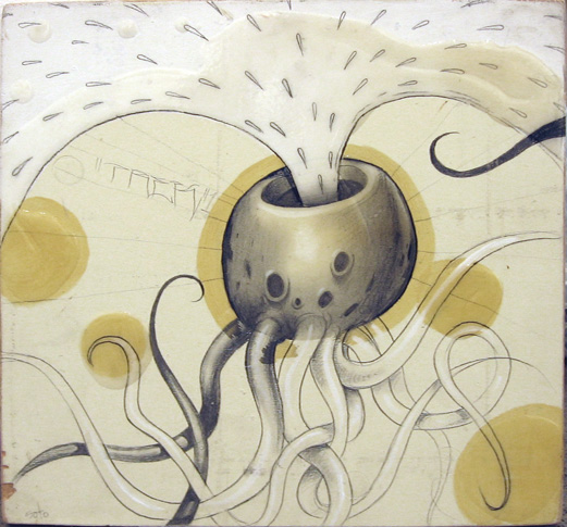 Jeff  Soto -  <strong>Octopus</strong> (2004<strong style = 'color:#635a27'></strong>)<bR /> Acrylic and graphite on Wood  8 x 8 inches