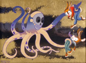Andrew  Brandou -  <strong>Octopus</strong> (2006<strong style = 'color:#635a27'></strong>)<bR /> Acrylic and Gold Leaf on Maple Panel,   18 x 24 inches
