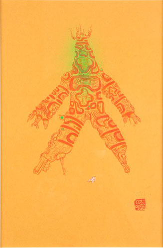 David  Choe -  <strong>Hesitatron</strong> (<strong style = 'color:#635a27'></strong>)<bR /> Mixed media on paper,   Image size: 16 1/2 x 11 1/2 inches,   Framed size: 25 x 19 1/4 inches