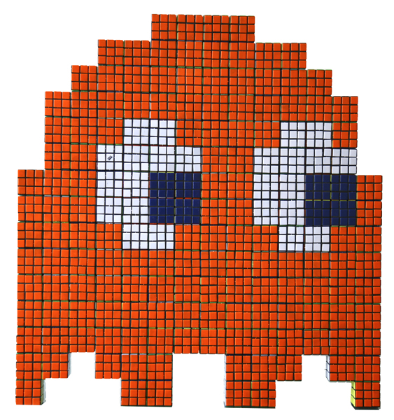 Invader  &nbsp -  <strong>Orange Rubik Phantom</strong> (2007<strong style = 'color:#635a27'></strong>)<bR /> Rubik Cubes on Plexiglass Panel,   31 x 33 inches